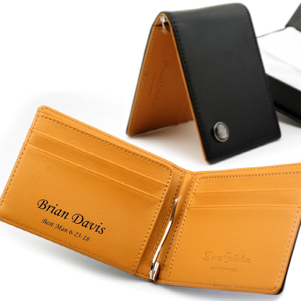 Free engraving - Groomsman Leather Money Clip Wallet, Perfect for father's day gift