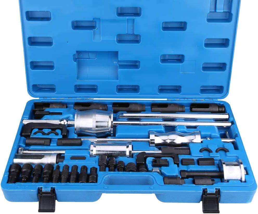 40 St/ücke Common Rail Abzieher Werkzeug-Satz aus Kohlenstoffstahl Universal Diesel Injektoren Abzieher Mit Kunststoff Werkzeugkasten GOTOTOP Abzieher Set