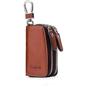 c0fb5320fea85d Contacts Echtes Leder-Auto-Schlüsselhalter-Kasten-Mappen-Doppelt-Reißverschluss  Schlüsselanhänger
