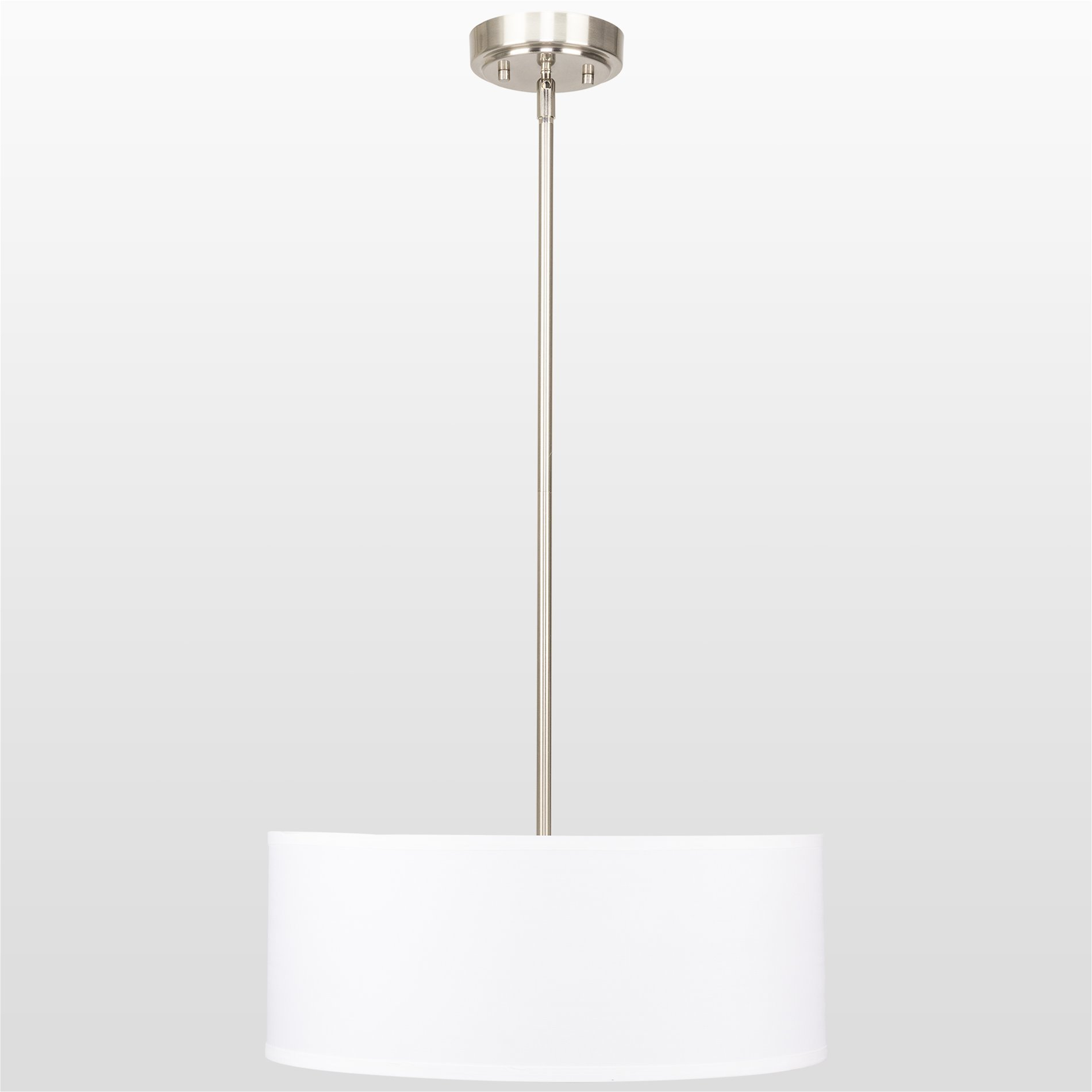 Kira Home Nolan 18'' Classic Drum Chandelier, Stem-Hung Adjustable Height, White Fabric Shade + Glass Diffuser, Brushed Nickel Finish