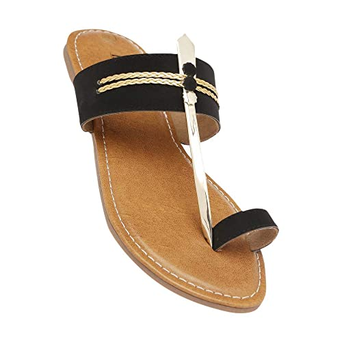 89fd6e5b772b Inc.5 Women s Black Synthetic Flat Sandals (202246440) - 6 UK  Buy ...
