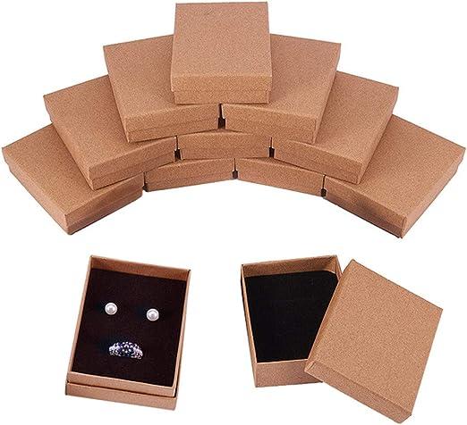 BENECREAT 12 Pack Cajas de Cartón para Collar 9x7x3cm Pequeña Caja de Regalo Rectácula de Pulsera y Pendientes Cumpleaños Boda Festival: Amazon.es: Hogar
