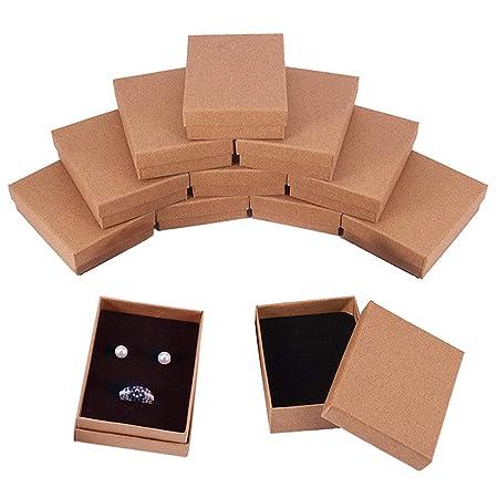 BENECREAT 12 Pack Cajas de Cartón para Collar 9x7x3cm Pequeña Caja de Regalo Rectácula de Pulsera y Pendientes Cumpleaños Boda Festival