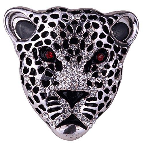 Szxc Jewelry Women's Crystal Leopard Stretch Ring Silk Scarf Clasp Buckle
