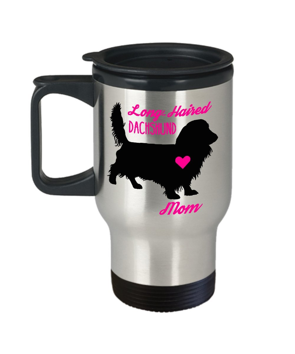 Long Haired Dachshund Mom Travel Mug - Insulated Portable Doxie Coffee Cup With Handle & Lid For Wiener Dog Lovers - Best Christmas Gift Idea For Women - Novelty Animal Quote Statement Accessories