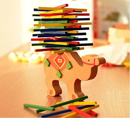Remeehi Wooden Stacking Blocks Toy Balance Beam Camel Puzzle Kid Educational Toy