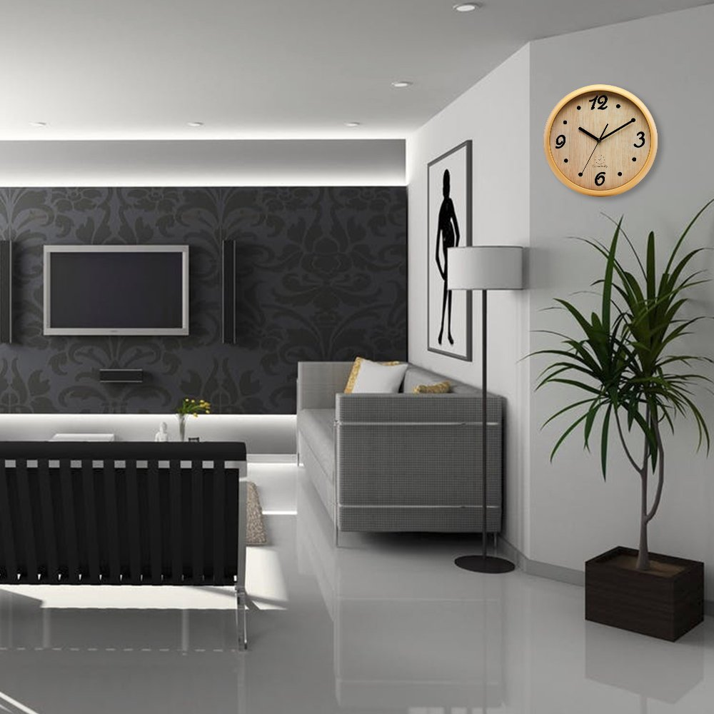 DreamSky 12'' Decorative Wall Clock, Non-Ticking, Battery Operated Quartz Analogy Wall Clocks for Living Room/Kitchen/Classroom/Office, Cultured Wood Style. by DreamSky (Image #2)