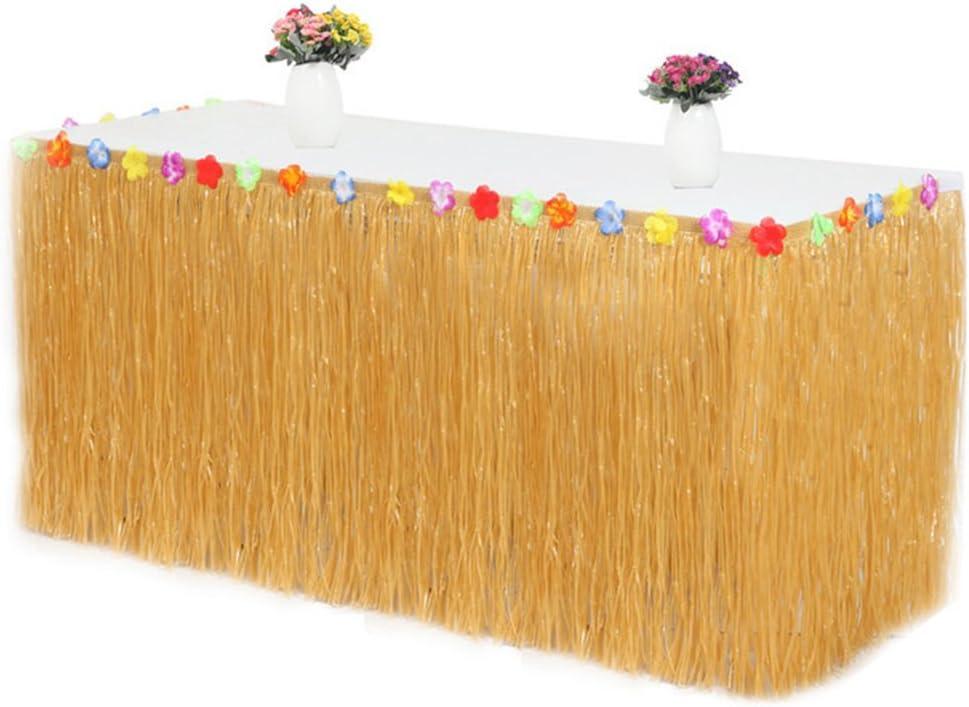 Iraza Falda de Mesa Hawaiana Decoración de Hierba Flores Hibisco ...