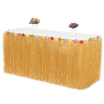 Iraza Falda de Mesa Hawaiana Decoración de Hierba Flores Hibisco para Barbacoa Jardín Tropical Playa Verano Cumpleaños (Amarillo Paja): Amazon.es: Juguetes ...