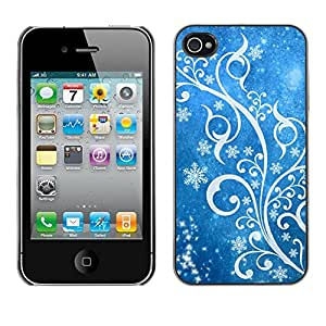For Apple iPhone 4 / iPhone 4S / 4S,S-type® Winter Snow White Blue Floral - Arte & diseño plástico duro Fundas Cover Cubre Hard Case Cover