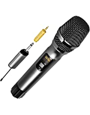 Ankuka Handheld Dynamic Wireless Microphone, 25 Channel UHF Cordless Microphone System with Portable Receiver 6.5mm Output & 3.5mm Output Adapter for House Parties, Karaoke, Business Meeting