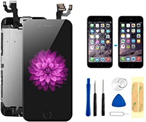 Master Screen for iPhone 6 4.7 Inch Screen Replacement LCD Digitizer Display Full Assembly with Earpiece Speaker Front Facing Camera Proximity Sensor Home Button and Repair Tools (Black)