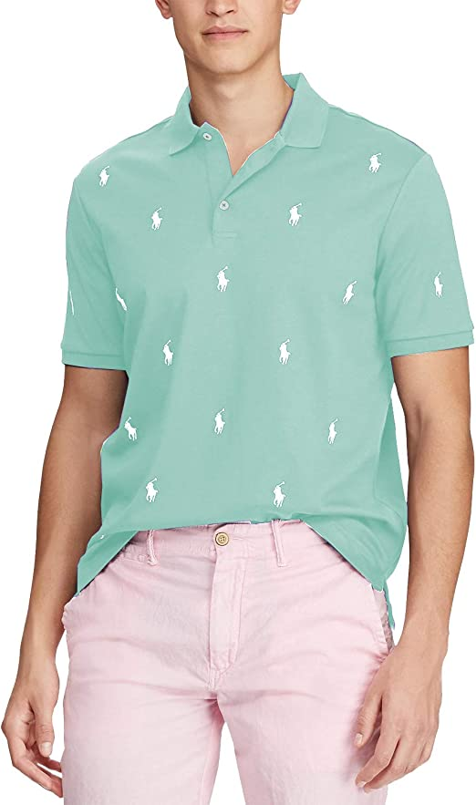Polo Ralph Lauren Mens Classic Fit Allover Pony Short Sleeve Polo Shirt, Green (2XL)