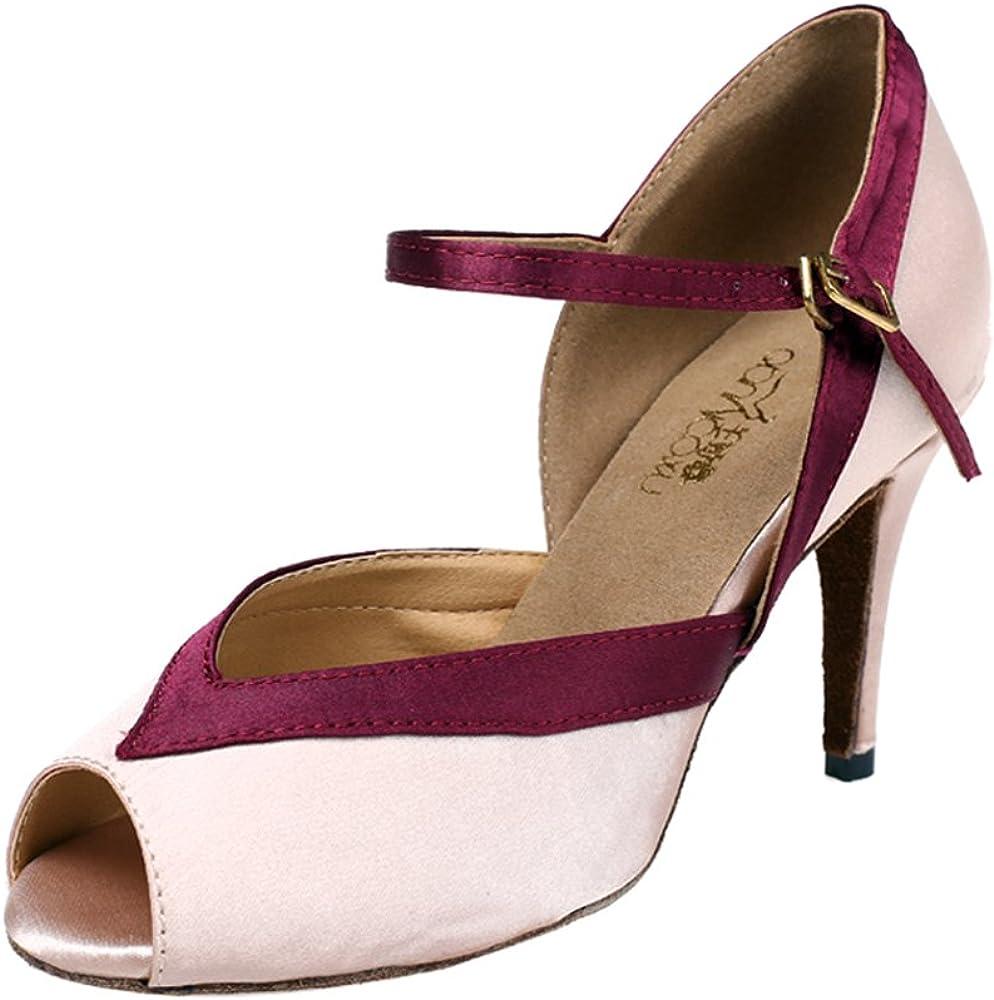 Minishion QJ6129 Womens Peep Toe Stiletto High Heel Satin Salsa Tango Ballroom Latin Mary Jane Dance Sandals