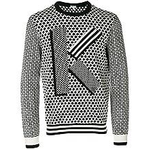 Kenzo Men's F765pu2103lb99 White/Black Wool Sweater