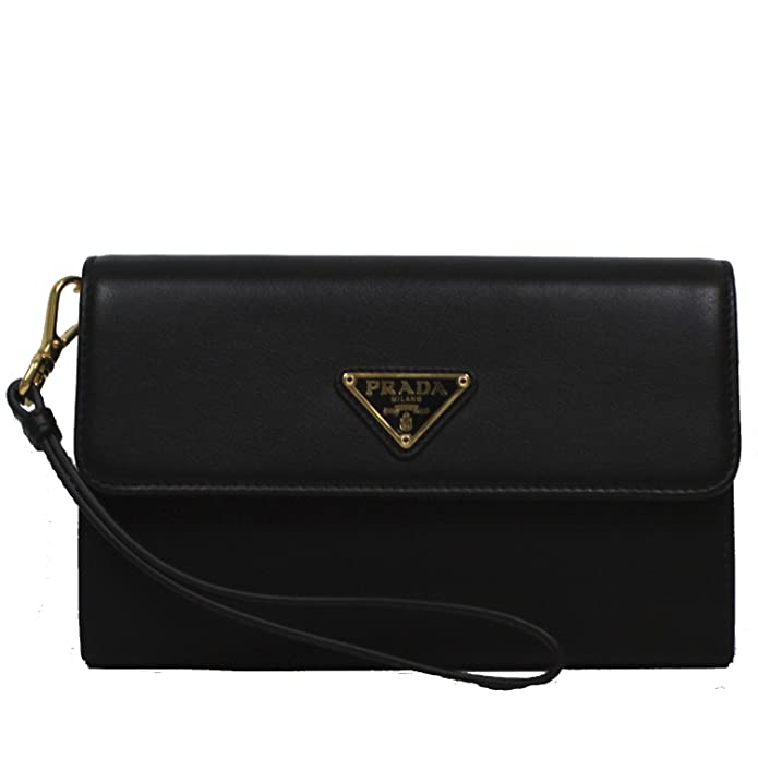 126d182463 Amazon.com: Prada Tessuto Textured Leather Portafoglio Pattina Nylon  Leather Wristlet Wallet 1M1438, Nero Black: Shoes