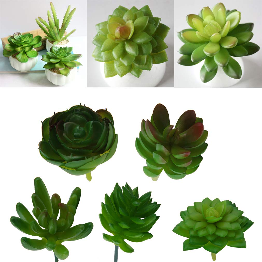 Artificial Mini Plastic Miniature Succulents Plants Art Garden Home Decor,Green