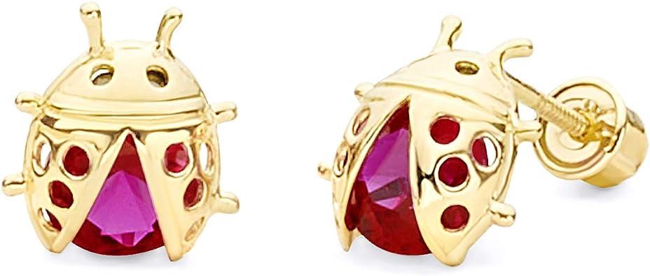 Wellingsale 14K Yellow Gold Polished Sweet 15 Stud Earrings With Screw Back