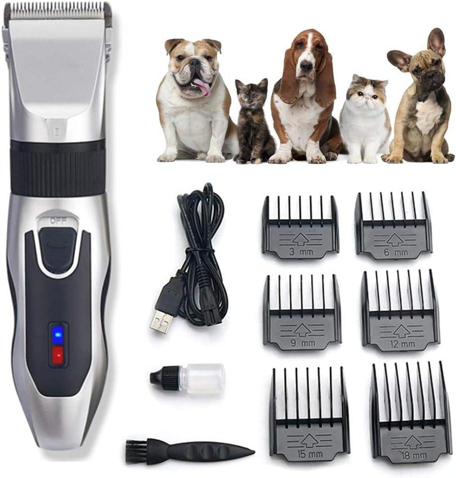 Cortadora eléctrica para mascotas, rasuradora para perros, cortadora de pelo de peluche, recortadora de pelo recargable, uso profesional para: gatos, perros, conejos, humanos 7000 rpm Ultra silencioso
