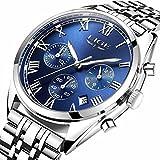 LIGE Watch Luminous Chronograph Analog Quartz watch Full Steel Band Waterproof Sport Dress Wrist Watches Clocks Silver Blue for Men