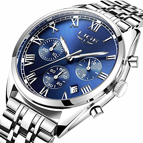 LIGE Watch Luminous Chronograph Analog Quartz watch Full Steel Band Waterproof Sport Dress Wrist Watches Clocks Silver Blue for Men
