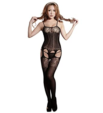 85fb767066a SUNNOW® Sexy Women s Lace Sheer Hollow Out Fishnet Body Stocking Bodysuit  Crotchless Lingerie Open Crotch (Black)  Amazon.co.uk  Clothing