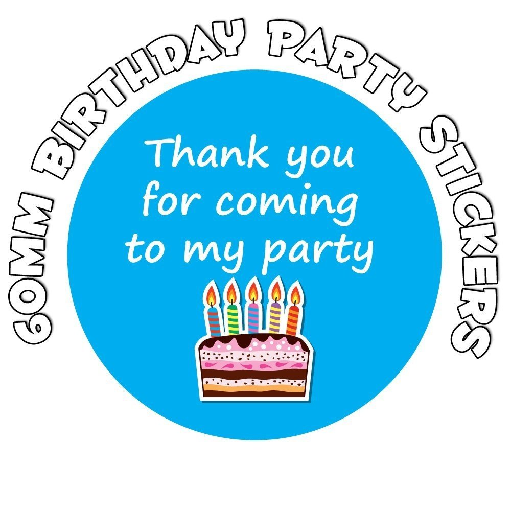 'Thank You For Coming To My Party' - Birthday Stickers - Birthday Cake Design (24) StickerZone