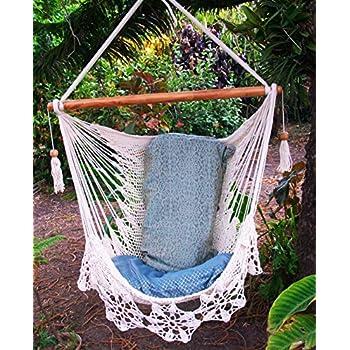 Hammock Chair Flower Crochet Handmade Cotton Beige/ Indoor Outdoor Chair  Hammock/ Hanging Chair Swing