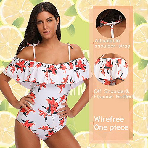 7cc3896163b7 SESY One Piece Swimsuits Off Shoulder Ruffled Floral Printed Bathing ...