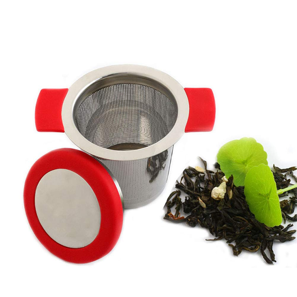 BESTONZON Teesieb aus Edelstahl mit Deckel Silikongriffe rot Tee ...