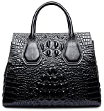 PIFUREN Classic Embossed Crocodile Genuine Leather Top Handle Satchel Handbags M1103(One Size, Black)