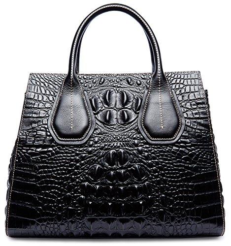 PIFUREN Classic Embossed Crocodile Genuine Leather Top Handle Satchel Handbags M1103(One Size, Black) by PIFUREN