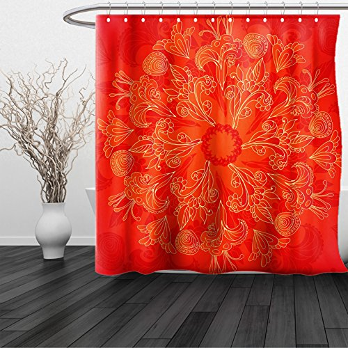 fan products of HAIXIA Shower Curtain Red Mandala King Size Vibrant Colored Doodle Style Nature Figures Romantic Abstract Bouquet Art Scarlet Orange