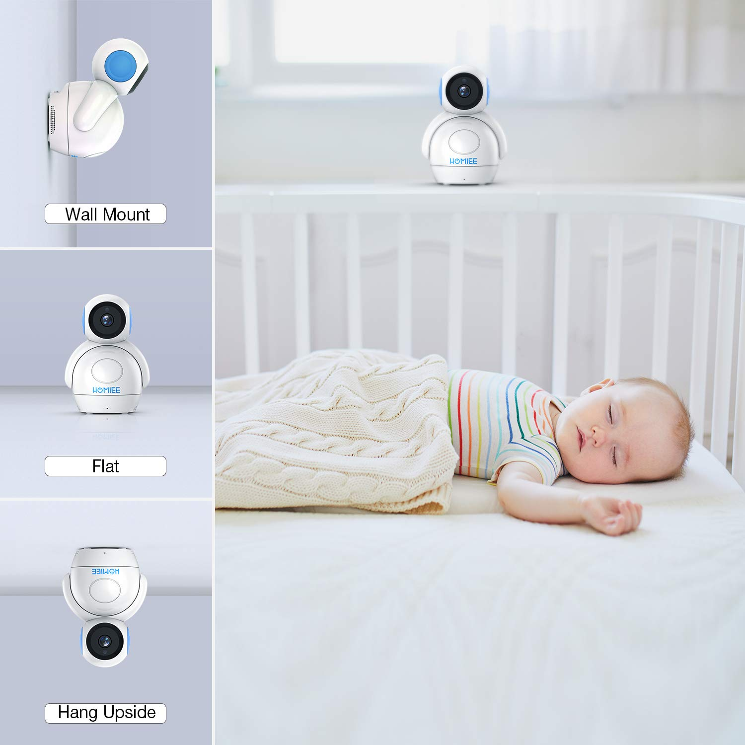 Night Vision with 1000ft Range HOMIEE 720P Digital Robot Appearance Camera Exclusive for HOMIEE Baby Monitor Additional Camera Sound /& Temperature Alert Two Way Audio and Baby Lullabies
