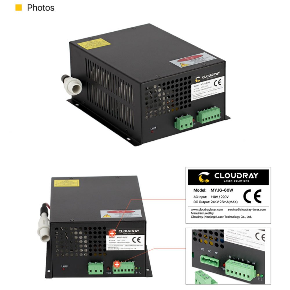 Cloudray 50W CO2 Laser Power Supply 110V for CO2 Laser Engraving Cutting Machine MYJG-50W (Buy More Discounts)