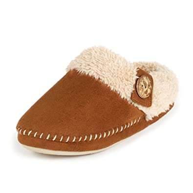 88ee8e97be08 totes Ladies Suedette Mule Slippers Tan Large (UK 7-8)  Amazon.co.uk ...