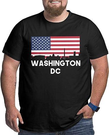 Camiseta de Talla Grande para Hombre con Cuello Redondo y Bandera Americana de Washington DC, Manga Corta: Amazon.es: Ropa y accesorios