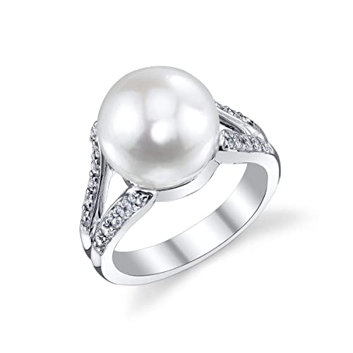 THE PEARL SOURCE 11-12mm Genuine White Freshwater Cultured Pearl Cubic Zirconia Khloe Ring for Women