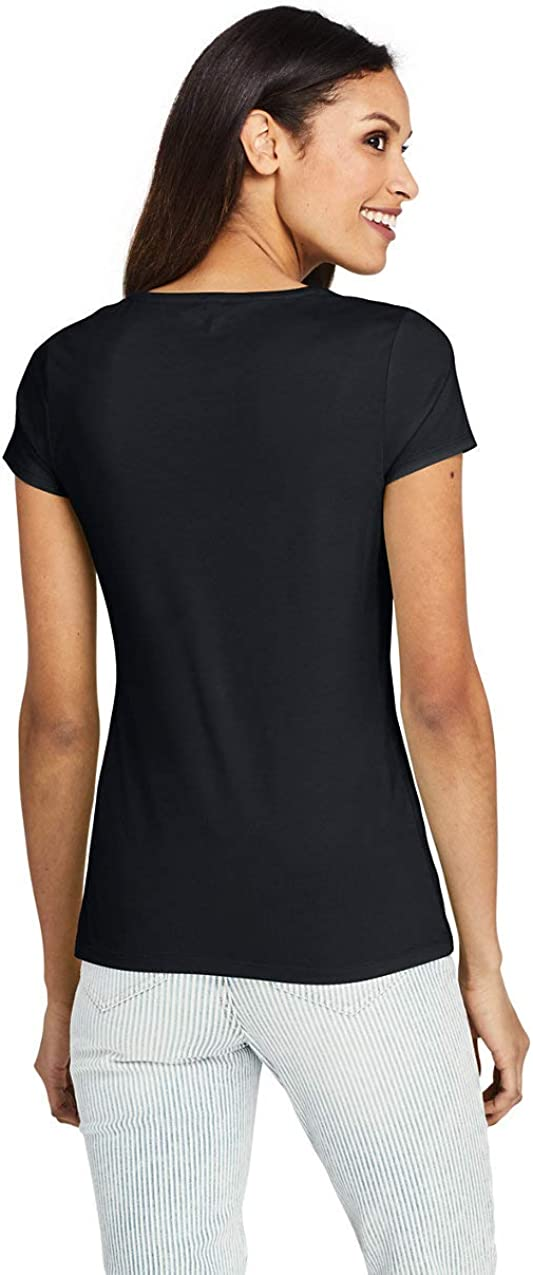 Lands End Womens Lightweight Fitted Short Sleeve Scoop Neck T-Shirt