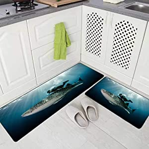 Doocilsh Kitchen Rugs,Kitchen Rugs Washable for Women and Men,17X48+17X24Inches Swimming with Whale Shark Kitchen Rug