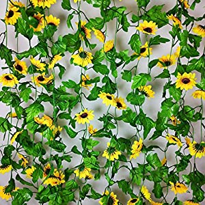 8 Pcs 8.5 Feet/piece Artificial Sunflower Hanging Vines Fake Flower Greenery Garland Silk Plant Leaves String Green Leaves Vines for Home Hotel Office Garden Wedding Party Outside Decoration 4