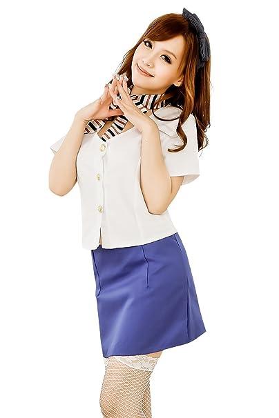 Shangrui Mujer Camisa Blanca y Azul de la Falda del Juego de la Ropa Interior Conjuntos