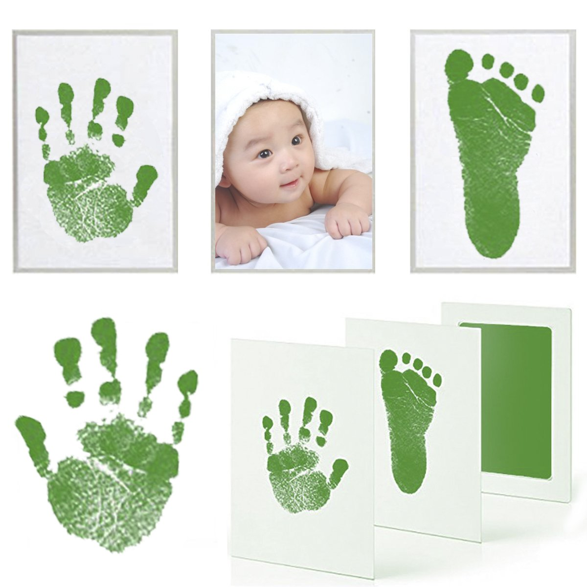 PartyYeah 3 Pcs Baby Ink Pad for Baby Footprints Hand Prints and Fingerprints Kit with 3 Extra Large Ink Pads and 6 Imprint Cards Perfect Keep Baby Memory Baby Shower Gift (Type-1, Blue) Party Yeah