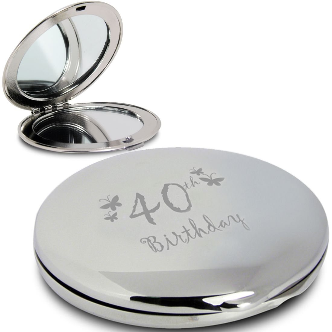 Silver Finish Engraved 40th Birthday Round Compact Mirror with Butterflies Great Idea for Birthday Gift Friends Presents Gifts Gifts for Women
