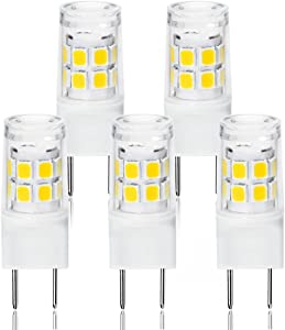 LED G8 Light Bulb, G8 GY8.6 Bi-pin Base LED, Not Dimmable T4 G8 Base Bi-pin Xenon JCD Type LED 120V 50W Halogen Replacement Bulb for Under Counter Kitchen Lighting (5-Pack) (G8 3W Daylight)