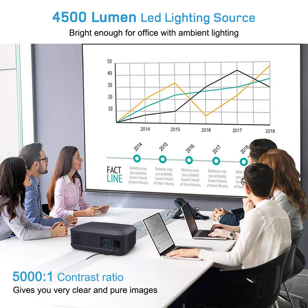 Beamer 4500 Lumen Multimedia Full HD Video-Beamer unterst/ützt 1080P Full HD LED 50000 Stunden mit max 200 Display Heimkino Projektor Verbindung mit HDMI VGA SD USB AV Ger/ät