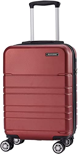 JELLYSTARS 20 inch Carry on Luggage ABS-PC Hardside Lightweight Boarding Spinner Suitcase with Wheels TSA Lock Frosted Suit Cases for Women Men Wine Red Color