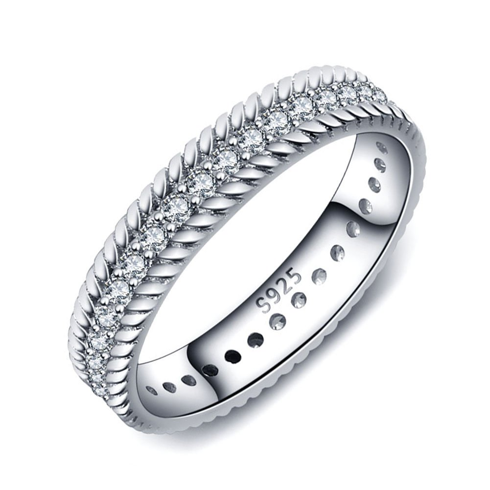 PHOCKSIN Sterling Silver Band Ring for Women Girl Anniversary Rings Christmas Gifts Jewelry (6)