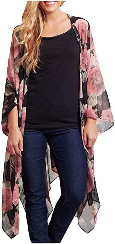 Hot Drape Cardigan for Women Long Sleeve Irregular Fashion Floral Print Casual Open Front Coat Tops Blouse