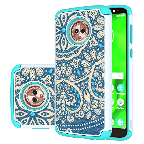 [Shock Absorption] Dual Layer Heavy Duty Protective Silicone Plastic Cover Rugged Case for Motorola Moto G 6th Generation - Blue Flower ()